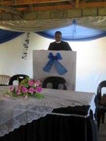 Rev. Seotsanyana at the pulpit of the new church building