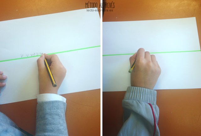 postura correcta diestros escribir