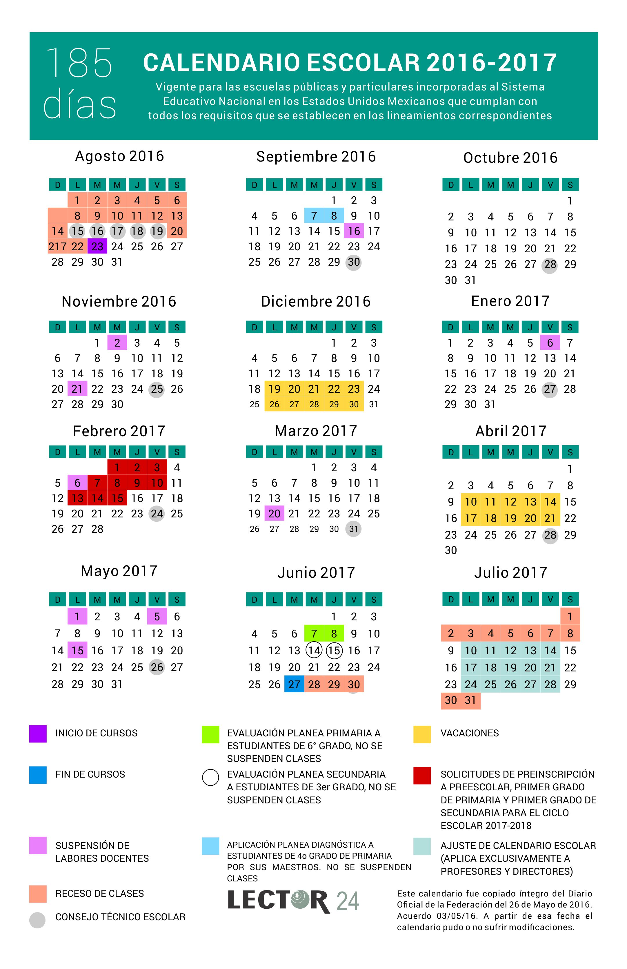 2016 05 26 Calendario escolar 2016-2017 SEP 185 días