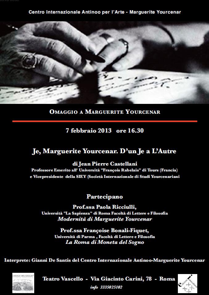 Programa de una de las conferencias sobre YOurcenar en las que ha participado Jean-Pierre Castellani