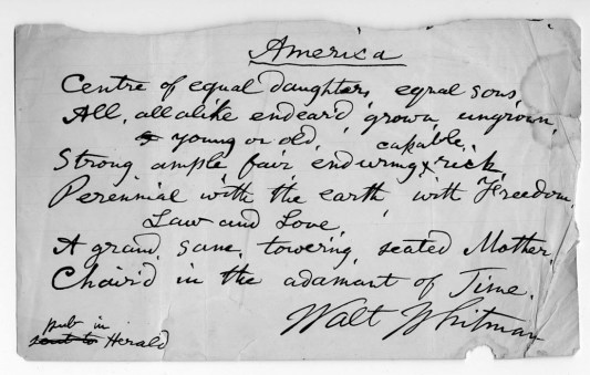 Manuscrito de Walt Whitman
