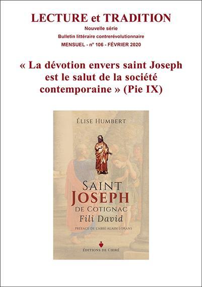 N° 106 (nouvelle série), février 2020 : « La dévotion envers saint Joseph est le salut de la société contemporaine »