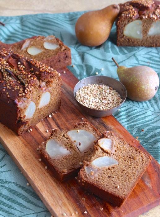 cake poire cannelle sarrasin sans gluten vegan