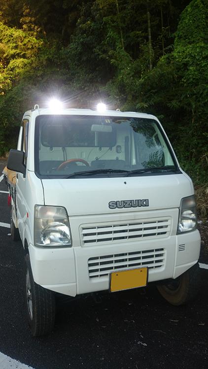 軽トラ作業灯設置・点灯写真