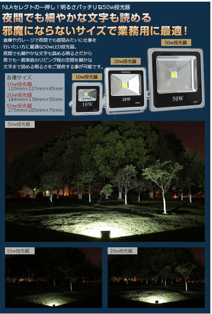 投光器比較写真