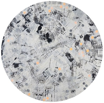 Han, Young Sook, Garden of memory1, paper, pigment , mixed media on circle frame. diameter 80cm 2017