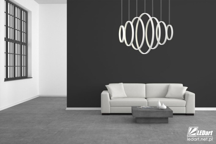 kolor grafitowy cala sciana lampa led ring ledart