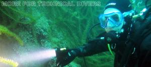 Ook voor de Technische duikers diverse kabellampen 2300 en 6000 lumen