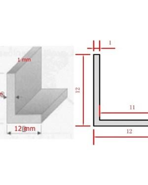 Alusín L profil led szalaghoz 12x12x1mm