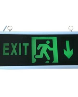 Led Exit lámpa le -felé mutat., kétoldalas, 3H üzemidő, folyamatosan világít.