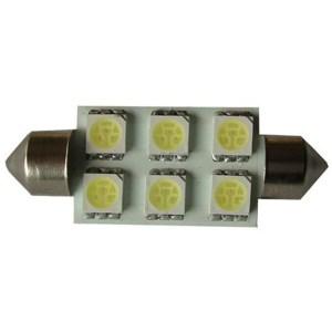 Autós led Sofita rendszám világítás, 6 led, 36 mm, 100 Lumen, 5050 chip, 1,5W, hideg fehér