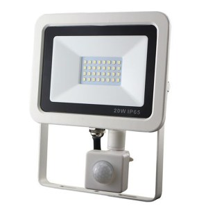 Led reflektor 20W, keskeny, fehér házban, mozgásérzékelővel, IP65, vízálló. 2000 Lumen, 6300 kelvin, hideg fehér. Life Light led 2 év garancia!