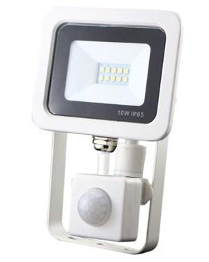 Led reflektor 10W, keskeny, fehér házban, mozgásérzékelővel