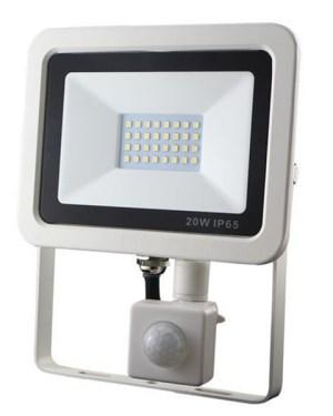 Led-reflektor-20W-keskeny-fehér-házban-mozgásérzékelővel Ledfenyek.eu
