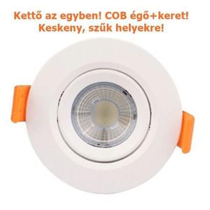 Led COB spot égő és kör spot keret egyben, 5W,