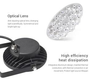 Vízálló kerti lámpa 15W (FUTC03) RGB-CCT koncentrált, egyenletes fény