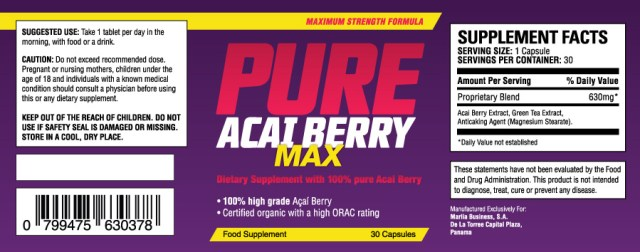 pure acai berry max supplement