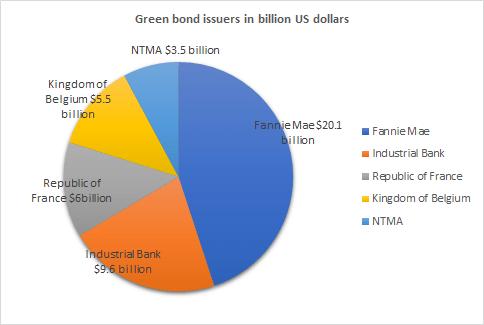 Green bond market issuers in billion US dollars