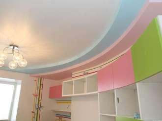 глянцевый трехуровневый потолок