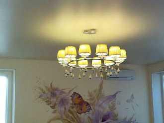 установка подвесной люстры на потолок пвх