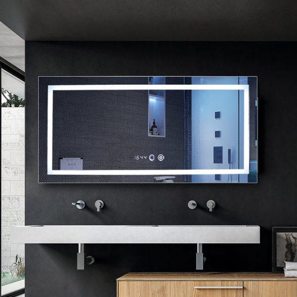 Smart Modern Room Frameless Illuminated Rectangle Hollywood Led Bath Mirror Light