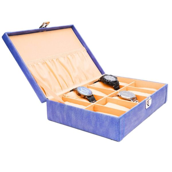 LEDO Watch box holder organizer case for Men and Women in Blue color with 10 slots of watches