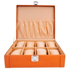 LEDO Watch Box Holder Organizer Case for Men and Women in Tan Color with 8 Slots of Watches