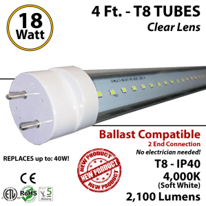 18w 4ft LED T8 tube light fluorescent replacement 4000K
