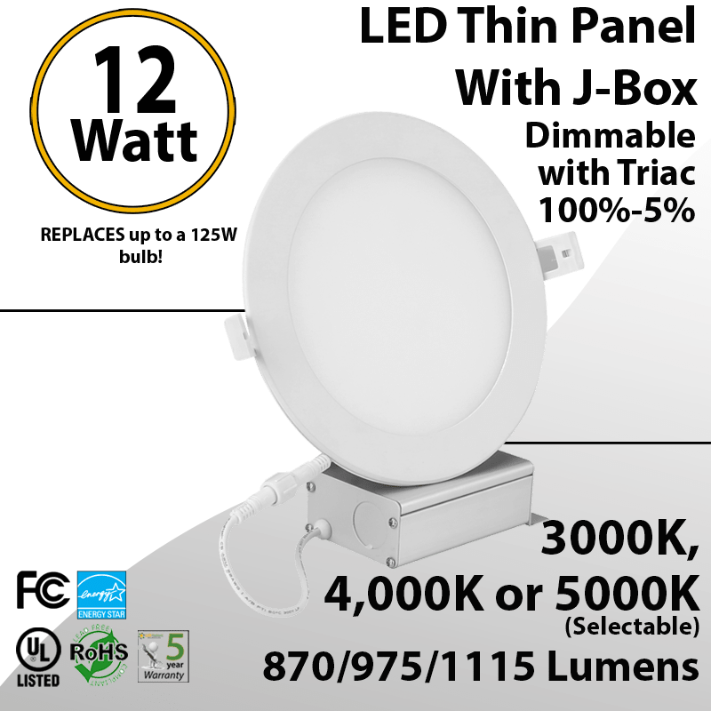 recessed lighting can less led panel 6 12w switchable white color temperature