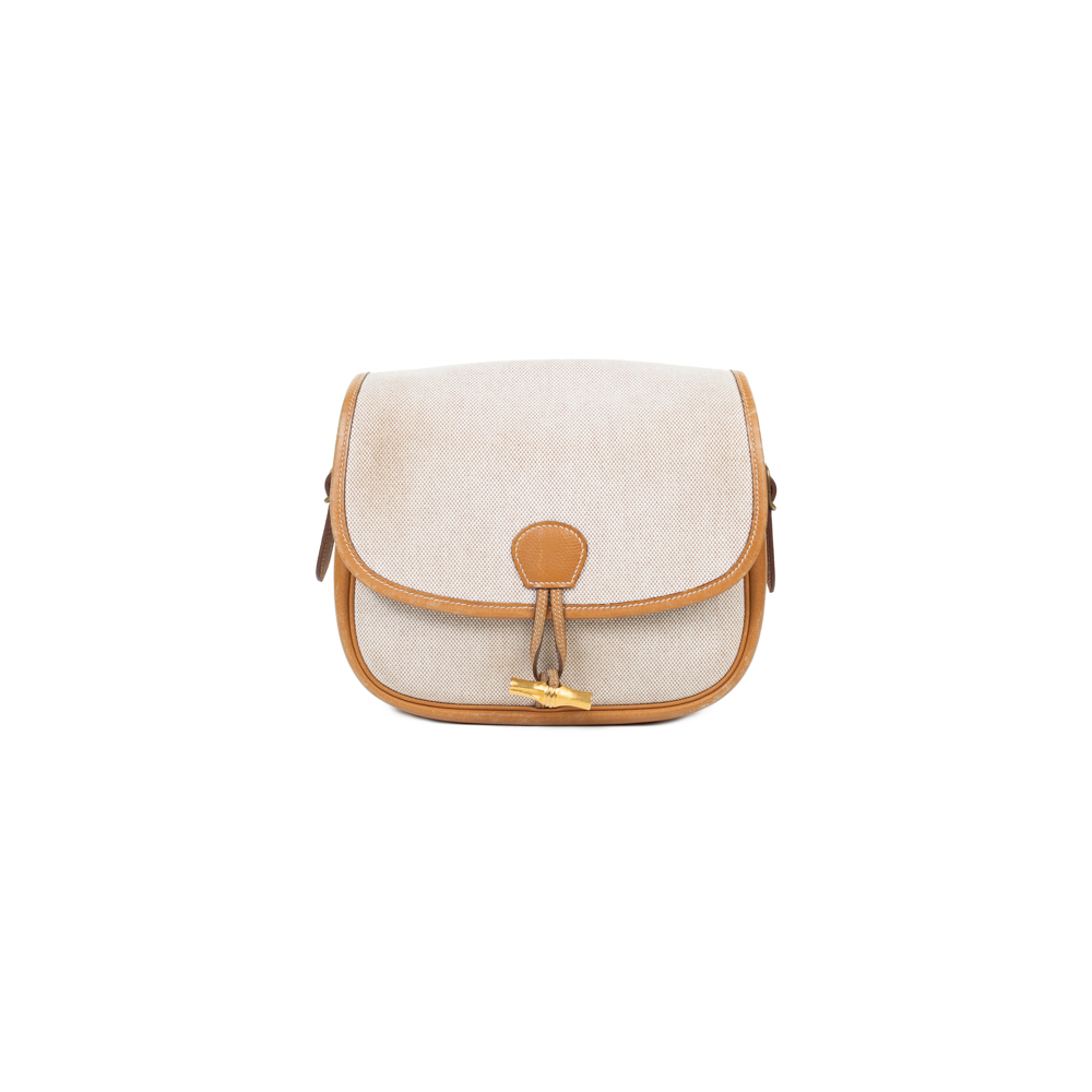 beige toile h gold decoration shoulder bag by hermes le dressing monaco