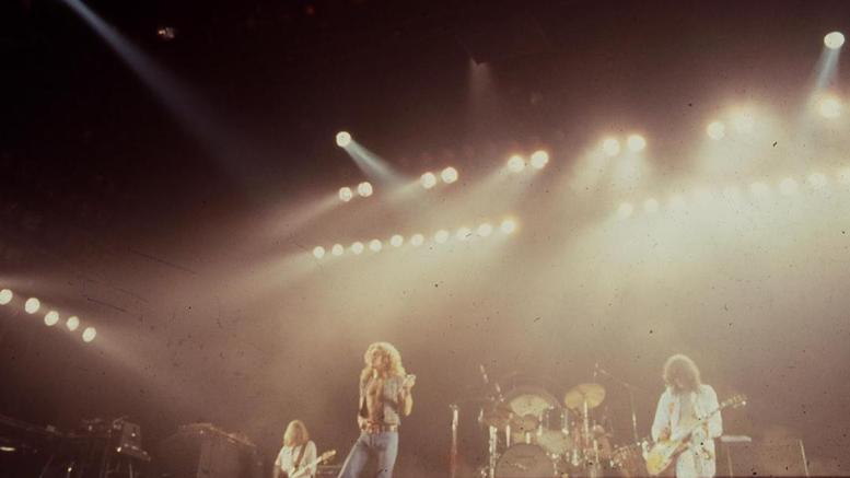Led Zeppelin performing in Los Angeles on June 22, 1977