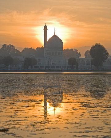 Hazratbal Mosque at Sunset on Dal Lake, Srinagar, Kashmir - Saved from Zenfolio