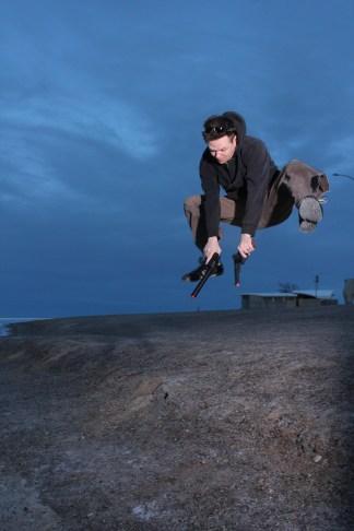 Designer Isaac in an action shot