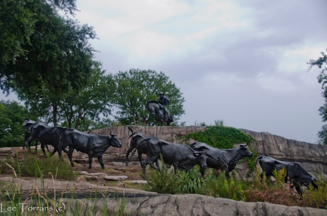 Pioneer Plaza Dallas Trail Boss Oversees Cattle Drive
