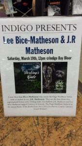 Indigo Bay Bloor sign for Mom-Son Coauthors Lee Bice-Matheson and J.R. Matheson