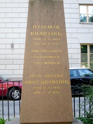 Prime minister Hjalmar Branting's tomb