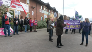 Care UK strikers protest outside Leeds Care UK office