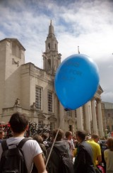 NHS not for sale blue balloon facing City Hall on Millenium Square