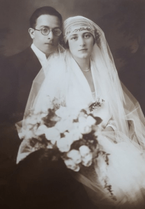 Wedding photograph of Siegfried and Hedwig Schrotter taken at the Vienna Synagogue, which was later destroyed by the Nazis.