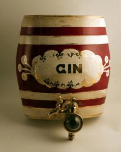A ceramic gin barrel