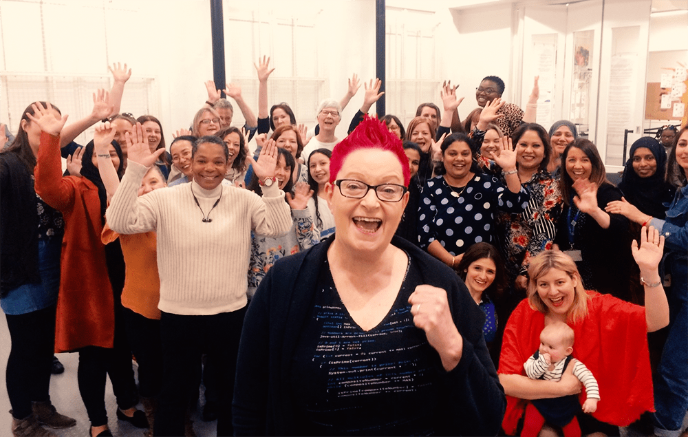 Leeds #techmums pictured with #techmums founder Dr Sue Black