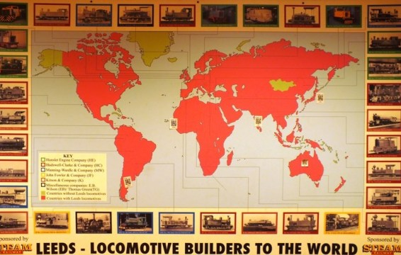 A map showing all the countries around the world where Leeds-made machines were used.