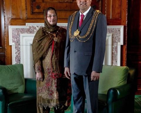 The Lord Mayor, Councillor Asghar Khan and the Lady Mayoress, Robina Kosar