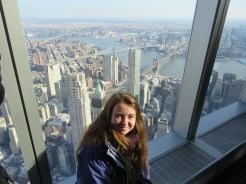 Enjoying the view of New York ( & the bridges) from the top of the Freedom Tower