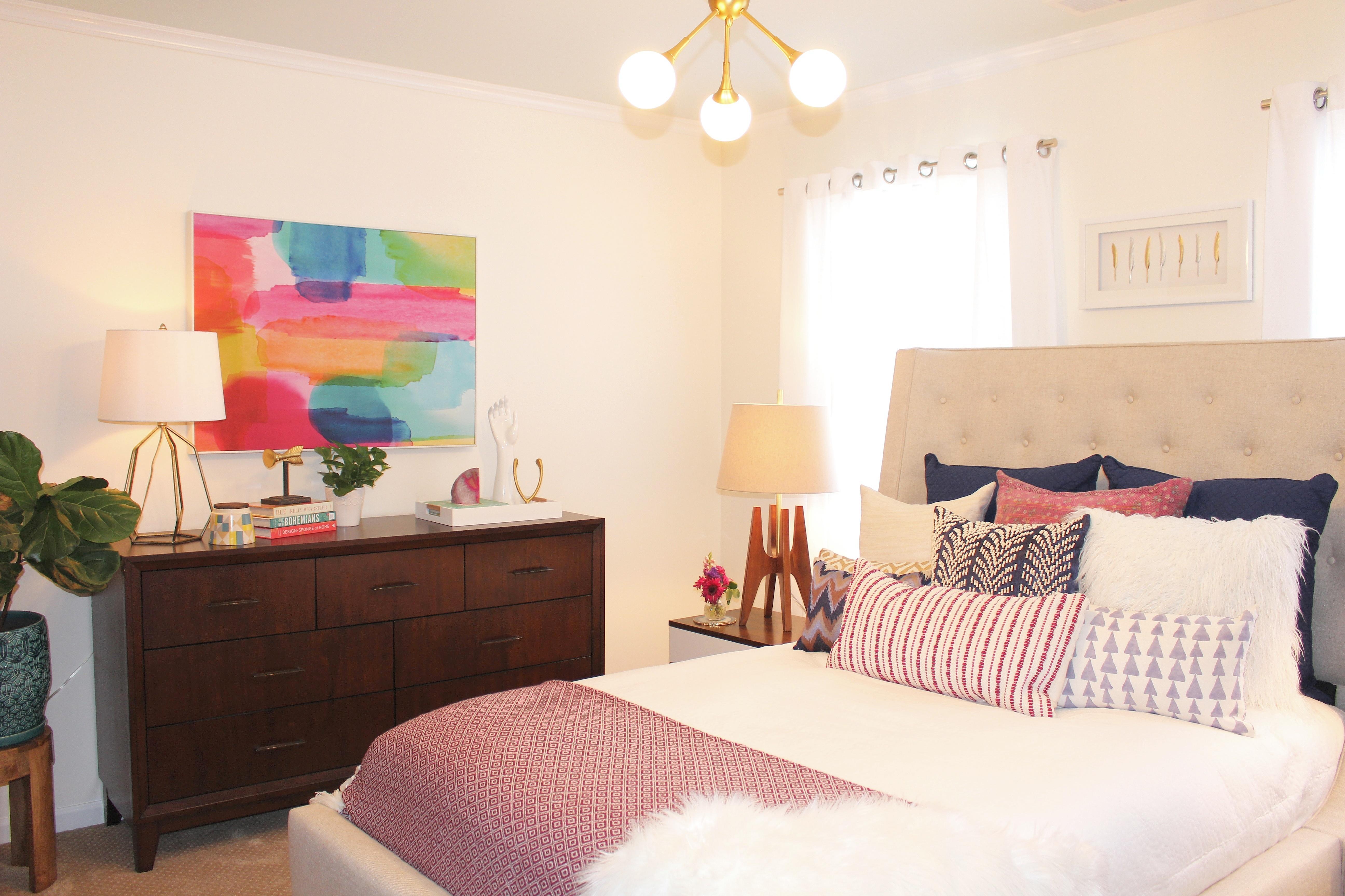 The Big Reveal! #RFBloggers Mid Century Boho Guest Room ... on Boho Modern Bedroom  id=29930