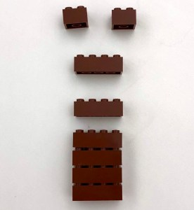 A pile of brown bricks come together into a block