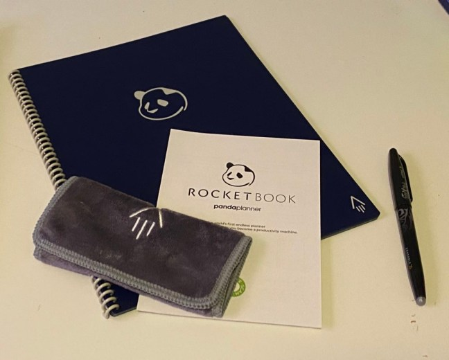 The Rocketbook comes with a high quality microfibre cloth and Pilot Frixion pen.