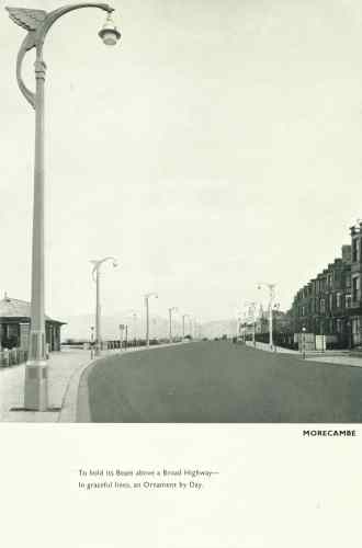 Lighting columns in Morecambe with wings on the bracket