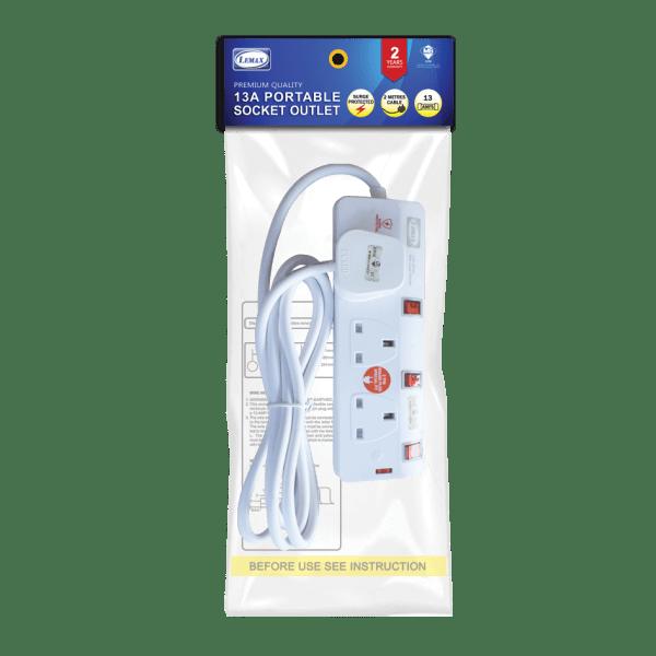 Extension Socket-ES-703N(SP) (2mtr) (Packaging)