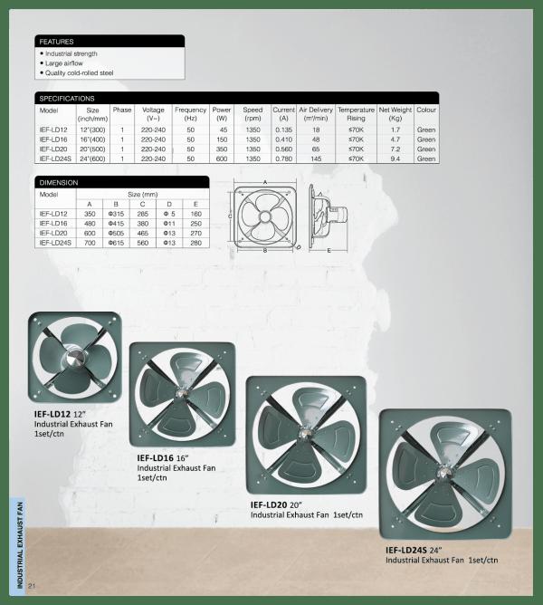 Spec sheet - Industrial Exhaust Fan (Light Duty)